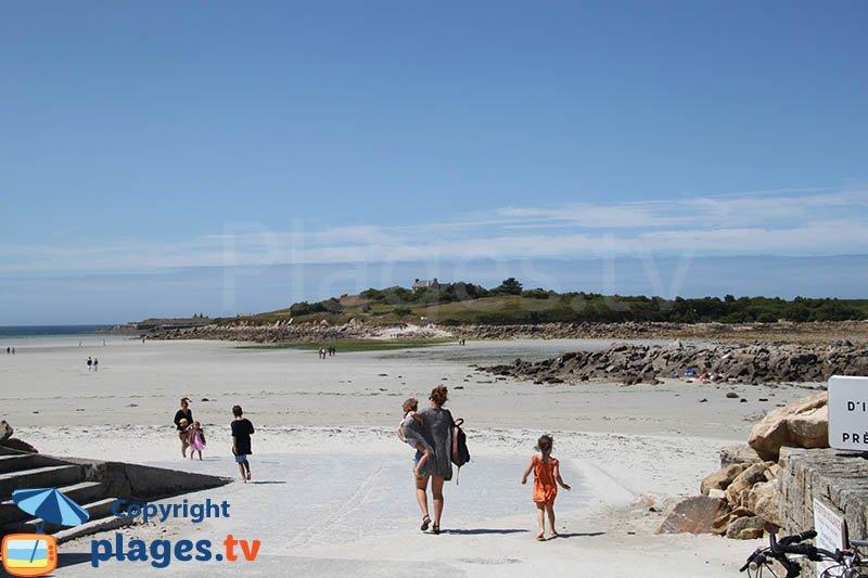 Accès ile de Sieck depuis la plage de Dossen