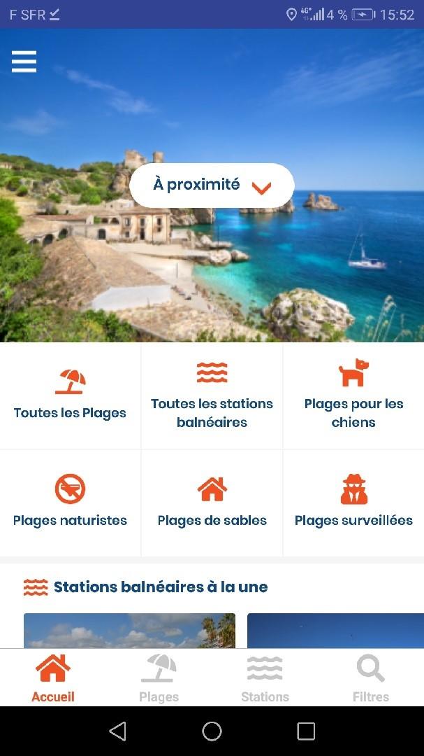 Page d'accueil de la page d'accueil de l'application mobile Android pour Plages.tv