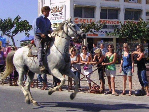 Spettacolo di cavalli nelle strade di Saintes Maries de la Mer