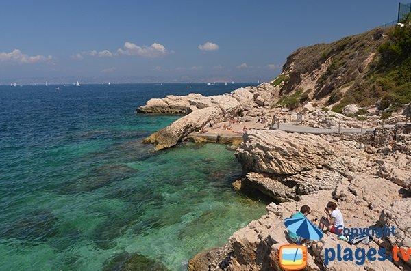 Spiaggia in cemento - penisola di Malmousque a Marsiglia