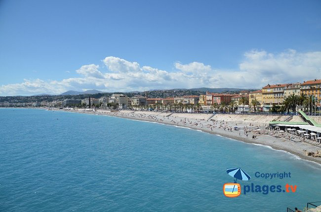 Baie des Anges in Nice with the different beaches