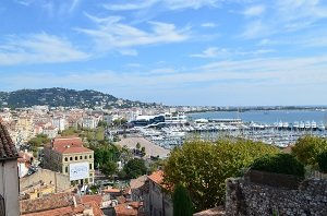 Cannes - view on the port and the Croisette from Suquet