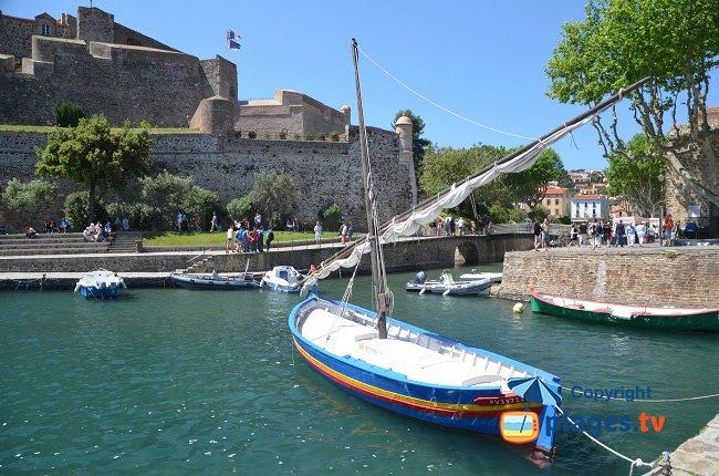 Barche nel porto di Collioure con il suo castello - Francia