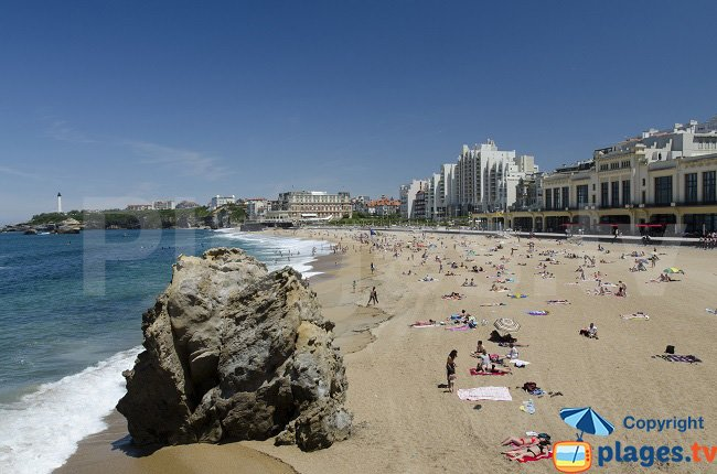 Main beach of Biarritz in the Casino area