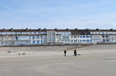 Seaside front of Fort Mahon in France