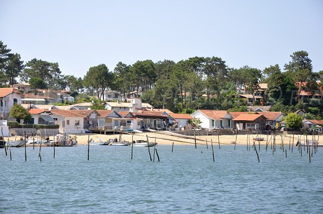 Oyster huts in the Bay of Arcachon in France