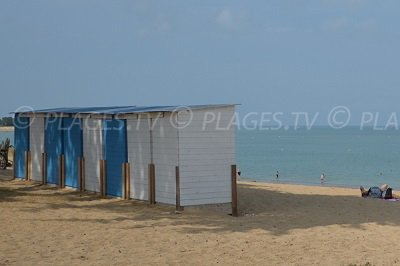Huts on the beach of Brée les Bains in Oleron - France