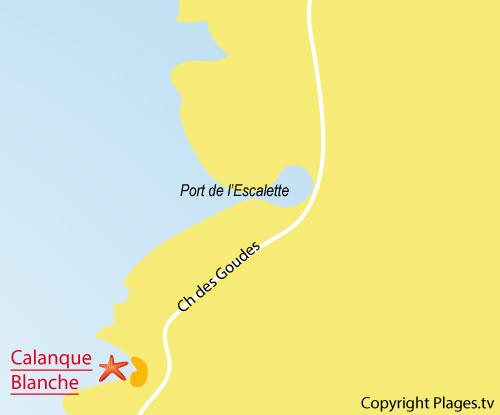 Carte de la calanque blanche à Marseille