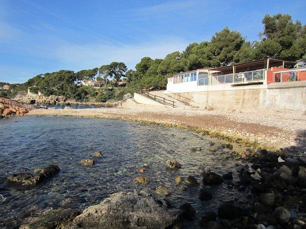 Capelan beach with a restaurant in Bandol - France