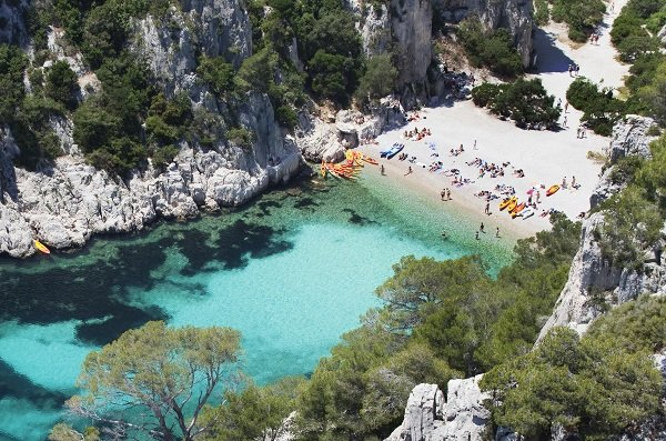 Beach in the calanque En-Vau in Marseille Cassis