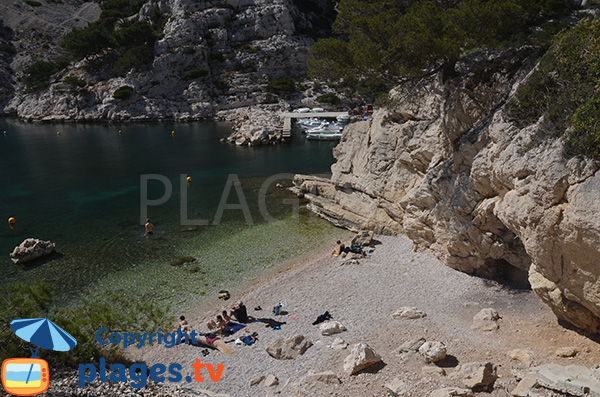Gravel beach in the calanque of Morgiou in Marseille