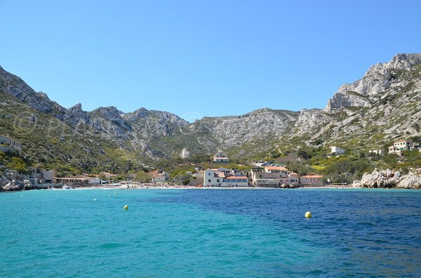 Calanque de Sormiou in france from the sea