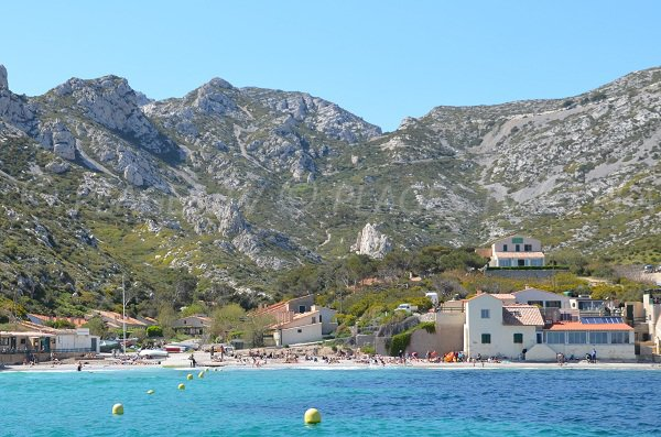 Principal beach in the calanque of Sormiou in Marseille