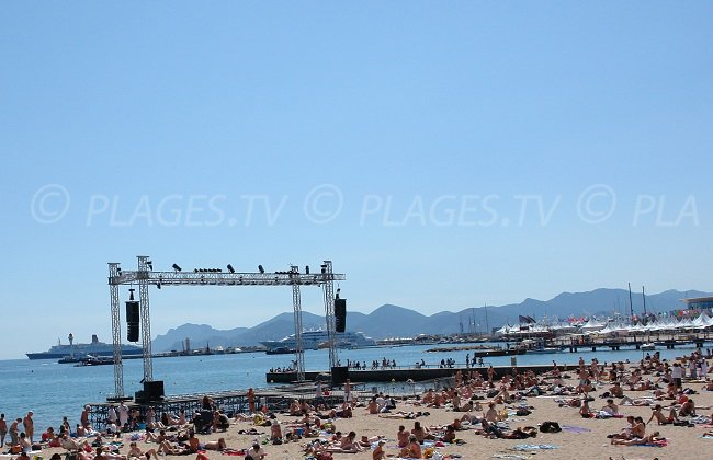 Public beach in Cannes during the film festival - France
