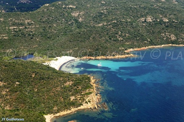Aerial view of Carataggio beach in Corsica