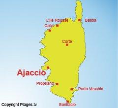 Location of Ajaccio in Corsica