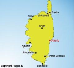 Location of Aleria in Corsica