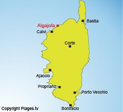 Location of Algajola in Corsica