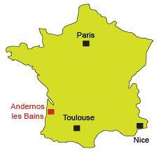 Localisation d'Andernos les Bains au bord du bassin d'Arcachon