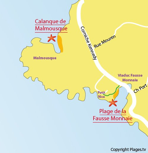 Map of Fausse Monnaie Beach in Marseille