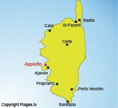 Localisation d'Appietto en Corse dans le golfe de Lava