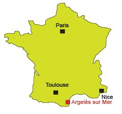 Location of Argelès sur Mer in France