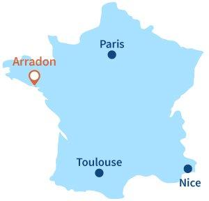 Localisation d'Arradon en Bretagne
