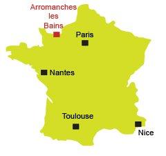 Localisation d'Arromanches les Bains en Normandie