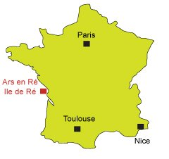 Location of Ars en Ré in France - Ré Island