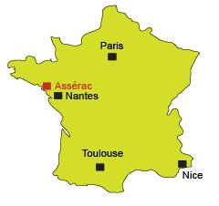 Localisation d'Assérac dans la Loire Atlantique
