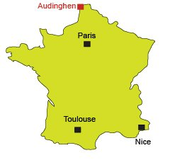 Location of Audinghen in France