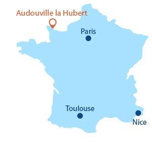 Localisation d'Audouville la Hubert dans la Manche