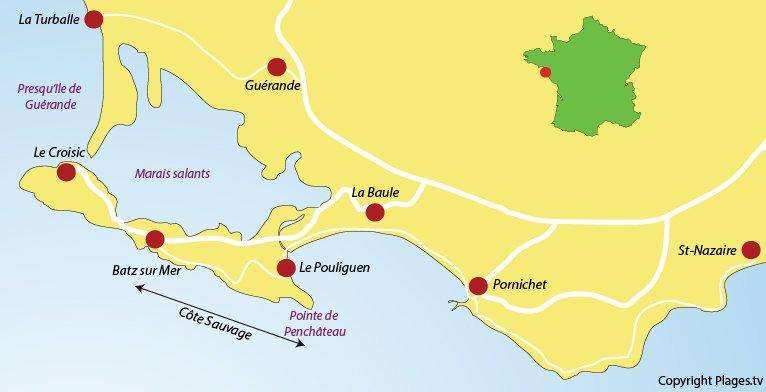 Carte du littoral de la Côte Sauvage autour de La Baule ainsi que des stations balnéaires