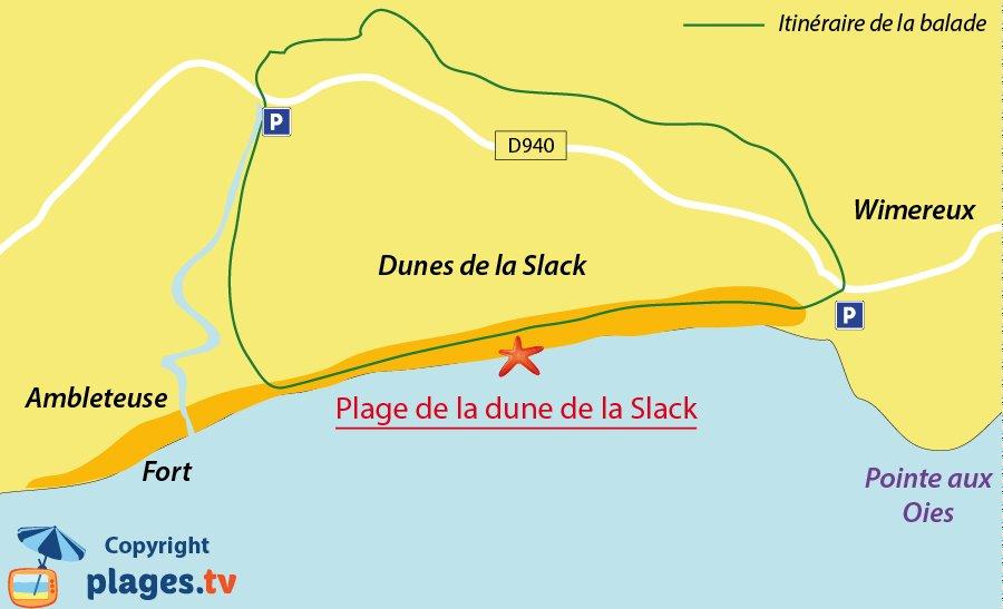 Carte de la balade des dunes de la Slack - Wimereux