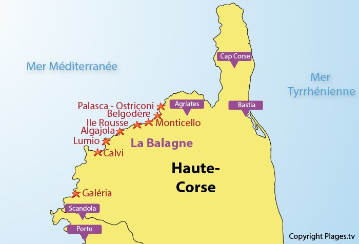 Map of seaside resorts in Balagne in Corsica