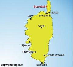 Localisation de Barrettali dans le Cap Corse