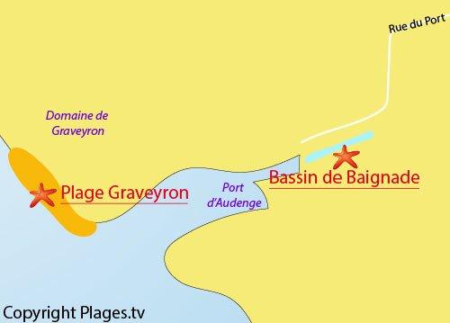 Carte du bassin de baignade d'Audenge