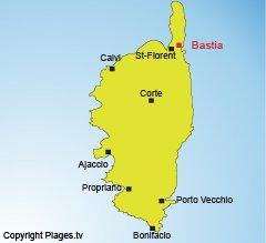 Location of Bastia in Corsica