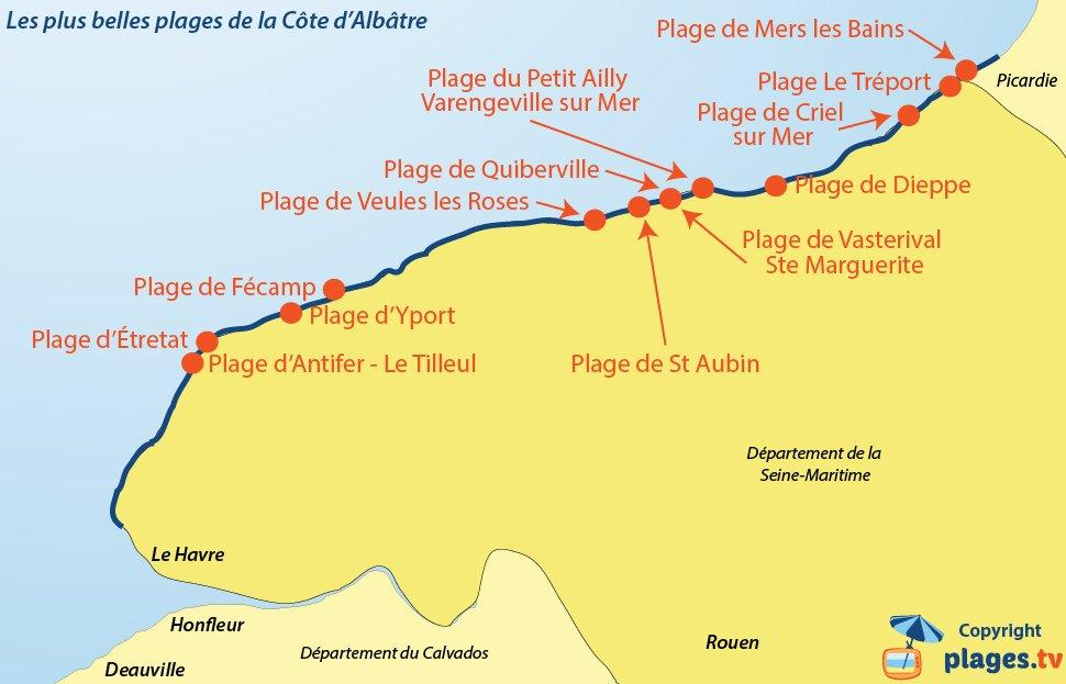 Carte des plus belles plages de la Côte d'Albâtre