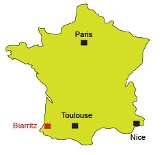 Location of Biarritz in France