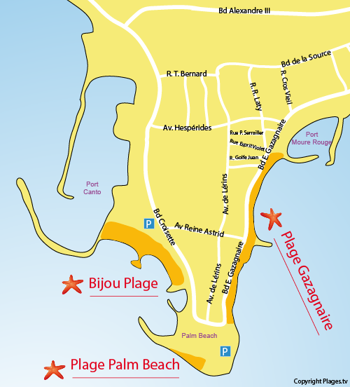 Map of Bijou Beach in Cannes
