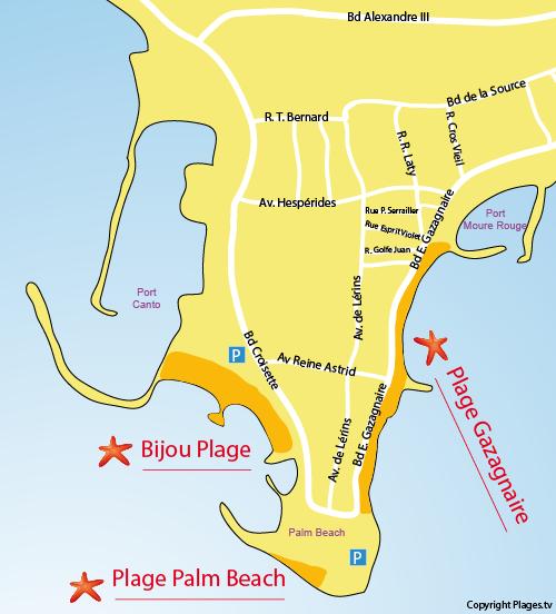 Plan de la plage Bijou Plage à Cannes