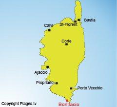 Location of Bonifacio in Corsica
