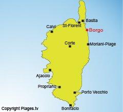 Location of Borgo in Corsica
