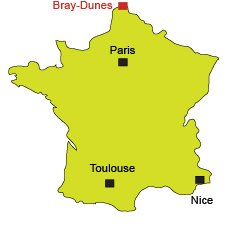 Location of Bray Dunes in France