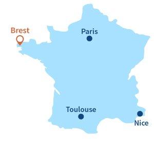 Localisation de Brest en Bretagne