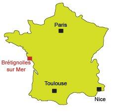 Location of Brétignolles sur Mer in France