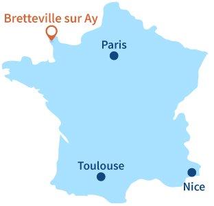 Localisation de Bretteville sur Ay dans la Manche