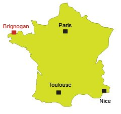 Location of Brignogan in Brittany in France