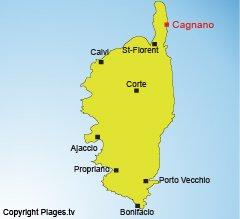 Localisation de Cagnano dans le Cap Corse